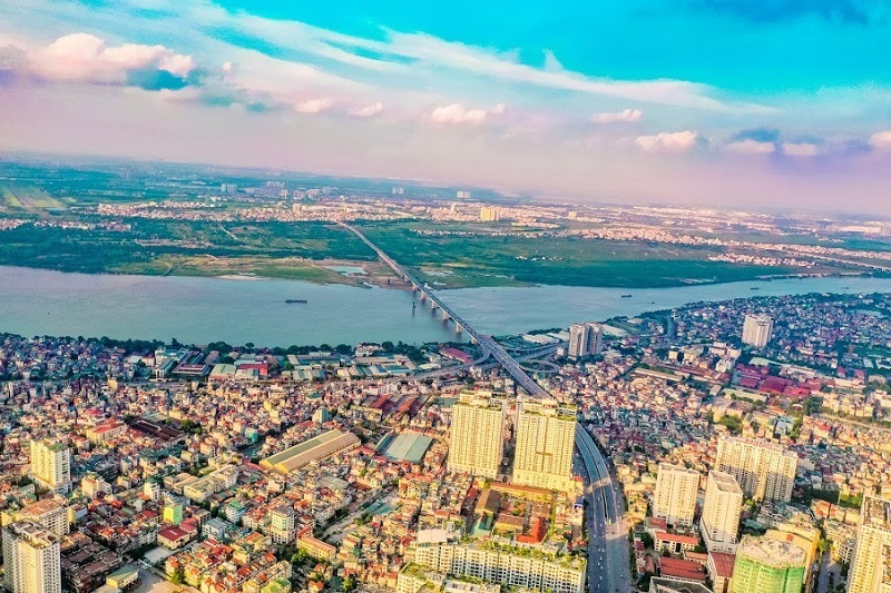 Bird's eye view of Hanoi's half-built elevated ring road No. 2