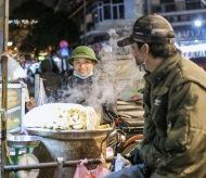 Street workers in freezingly cold nights