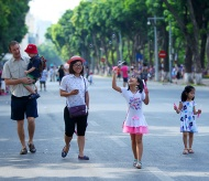 Expended pedestrian street space around Hoan Kiem Lake opened