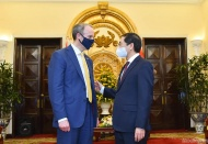 UK's Foreign Secretary Dominic Raab arrives in Hanoi for further economic ties